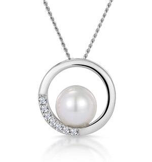 Pearl and Diamond Circle Stellato Necklace in 9K White Gold