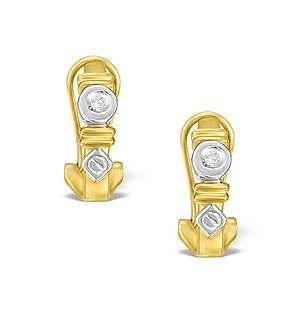 9K Two Tone Diamond Huggy Earrings