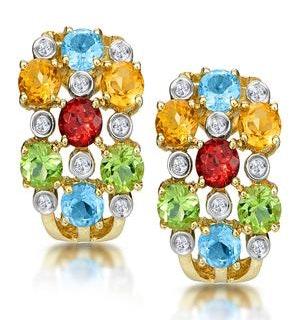 Multi Gem Diamond Studded Earrings in 9K Gold