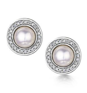 5.5mm Pearl and Diamond Stellato Earrings 0.14ct in 9K White Gold