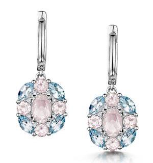 Rose Quartz Blue Topaz and Diamond Stellato Earrings in 9K White Gold