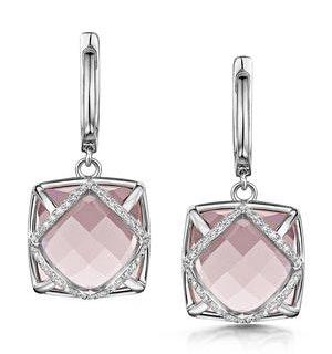 Rose Quartz and Diamond Stellato Earrings 0.28ct 9K White Gold