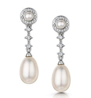 Stellato Collection Pearl and Diamond Earrings in 9K White Gold
