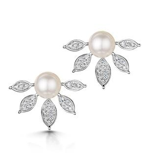 Stellato Collection Pearl and Diamond Earrings 0.12ct in 9K White Gold