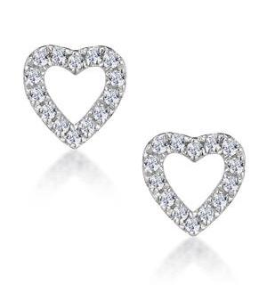 Stellato Diamond Heart Earrings in 9K White Gold