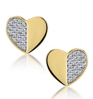 Stellato Collection Pave Diamond Heart Earrings in 9K Gold
