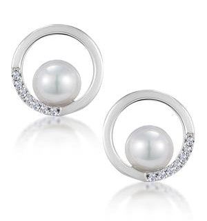 Stellato Circle and Pearl Diamond Earrings in 9K White Gold