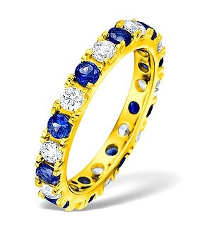 Poppy 18K Gold Sapphire 0.70ct and H/SI 2CT Diamond Eternity Ring