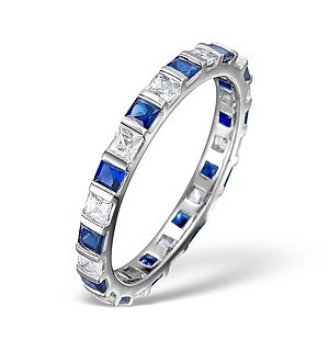 Sapphire 0.70ct And Diamond 18K White Gold Eternity Ring