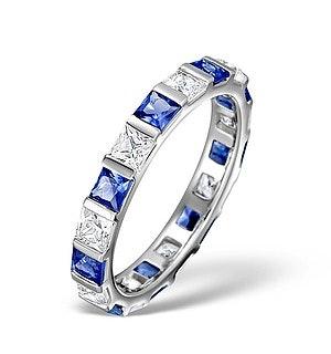 Sapphire 1.30ct And Diamond 18K White Gold Eternity Ring  HG42-422UJUY