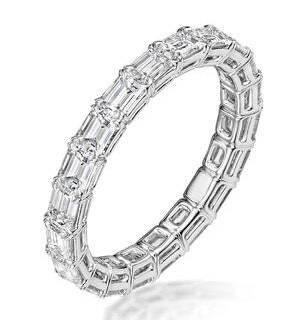 Viola Diamond Eternity Ring Emerald Cut 2.72ct VVs Platinum Size H-I