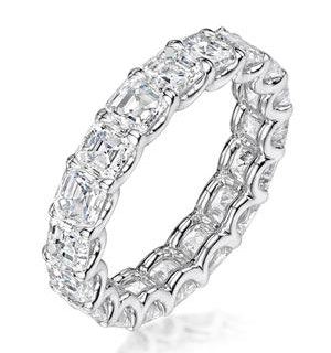 Elisa Diamond Eternity Ring Asscher Cut 4ct VVs Platinum Size J-N