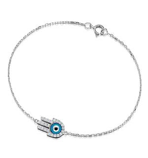 0.28ct Diamond and 9K White Gold 'Evil Eye' Hamsa Bracelet
