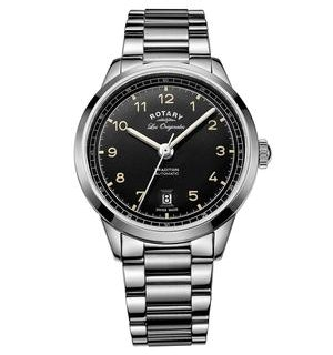 Rotary Les Originales Tradition S Steel Black Swiss Gents Auto Watch