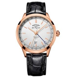 Rotary Les Originales Tradition GMT Rose Gold Swiss Gents Quartz Watch