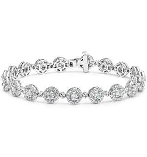 Diamond Halo Bracelet  3.75ct in 18K White Gold - Asteria Collection