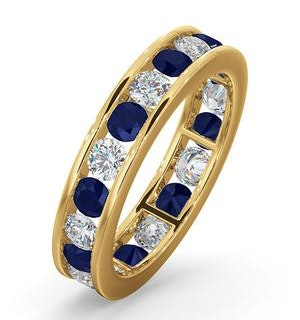 ETERNITY RING RAE DIAMONDS H/SI AND SAPPHIRE 1.90CT - 18K GOLD