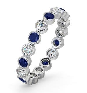 Sapphire 0.90ct And H/SI Diamond 18KW Gold Eternity Ring