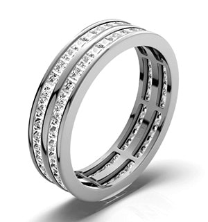 Mens 2ct H/Si Diamond 18K White Gold Full Band Ring  IHG43-422JUY