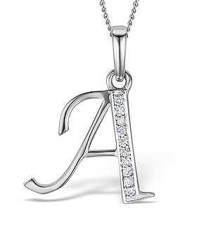9K White Gold Diamond Initial 'A' Necklace 0.05ct