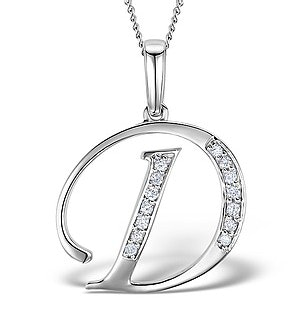 925 Silver Lab Diamond Initial 'D' Necklace 0.05ct