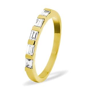 EMERALD CUT 18K Gold Diamond ETERNITY RING 0.50CT H/SI