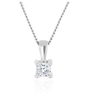 Princess Cut Lab Diamond Pendant Necklace 0.15CT in 9K White Gold