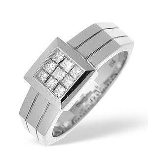 18K White Gold Princess Cut Diamond Ladies Ring