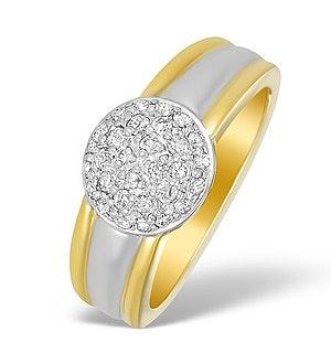 18K Two Tone Diamond Cluster Ring - N3455