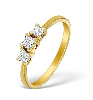 18K Gold Diamond Claw Set Cluster Ring - N3566