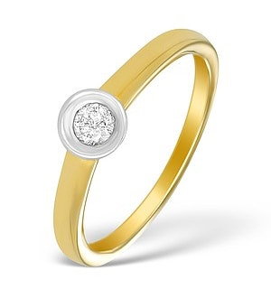 18K Gold Diamond Rubover Solitaire Ring - N3834