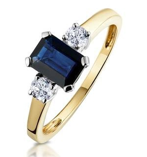 Sapphire 7 x 5mm And Diamond 18K Gold Ring  N3925