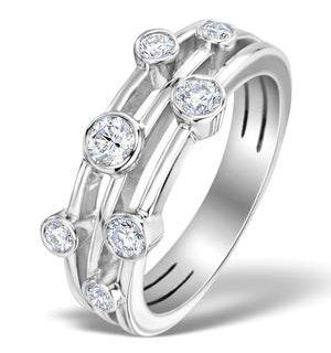 Rain Drops Diamond 0.50ct And 18K White Gold Rubover Ring