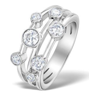 Rain Drops Diamond 1.00ct And Platinum Rubover Ring
