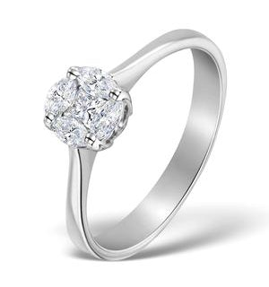 Galileo 1.00ct Look Diamond 0.38ct And 18K White Gold Ring