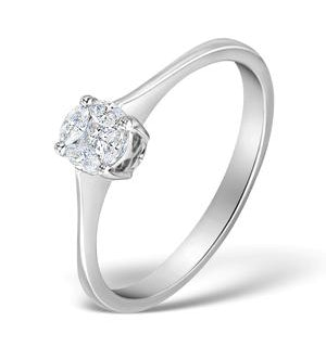 Galileo 0.50ct Look Diamond 0.17ct And 18K White Gold Ring