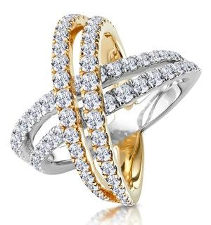2.50ct Diamond Criss Cross Ring H/Si Quality Set in 18K Two Tone Gold