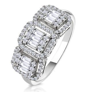 0.80ct Asteria Collection Diamond Baguette Ring in 18K White Gold
