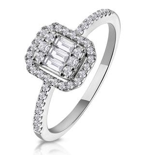 0.40ct Halo Baguette Diamond Asteria Ring in 18K White Gold