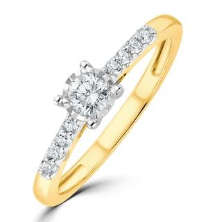 Lab Diamond Side Stone Engagement Ring 0.25ct H/Si in 9K Gold