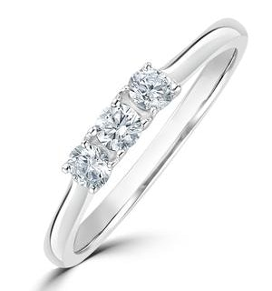 Lab Diamond 3 Stone Trilogy Ring 0.25ct H/Si Set in 9K White Gold