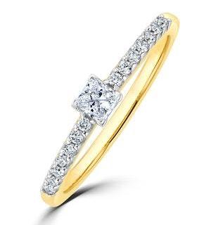 Princess Cut Lab Diamond Engagement Ring 0.25ct H/Si in 9K Gold