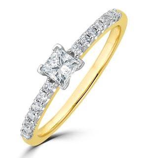 Princess Cut Lab Diamond Engagement Ring 0.50ct H/Si in 9K Gold