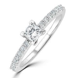 Princess Cut Lab Diamond Engagement Ring 0.50ct H/Si in 9K White Gold