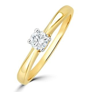 Tapered Design Lab Diamond Engagement Ring 0.25ct H/Si in 9K Gold