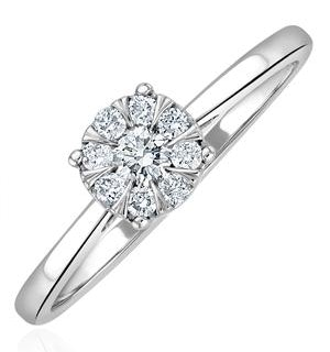 0.25ct Lab Diamond Cluster Solitaire Ring H/Si in 9K White Gold