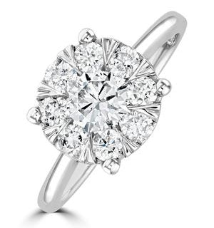 1 Carat Lab Diamond Cluster Solitaire Ring H/Si in 9K White Gold