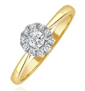 Lab Diamond Halo Engagement Ring 0.25ct H/Si in 9K Gold