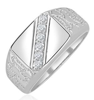 Mens Lab Diamond Signet Ring 0.25ct H/Si in Sterling Silver