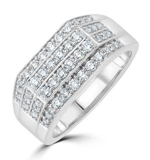 Mens Lab Diamond Pave Encrusted Ring 1ct H/Si in 925 Silver